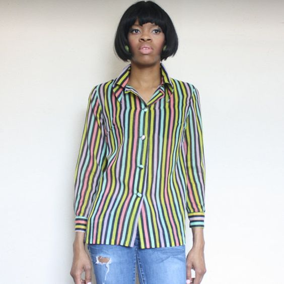 Vintage 70s Sheer Strip Button Up  Shirt by nstylevintage on Etsy, $28.00