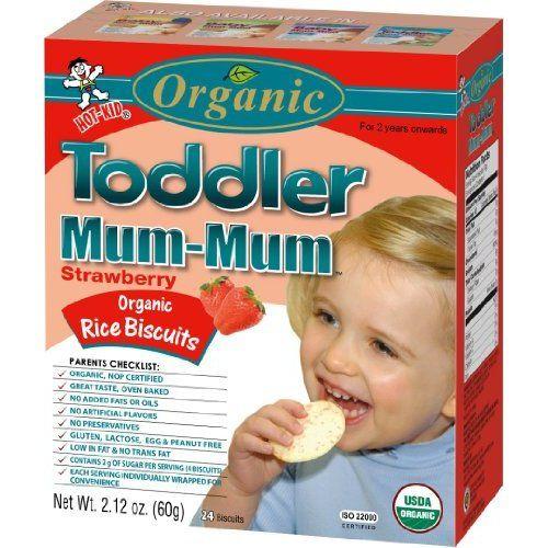 Hot Kid Organic Toddler Mum-Mum Strawberry Flavor Rice Biscuit 24-Count Box(Pack of 6)