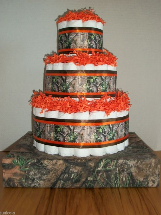 Boy Diaper Cake Decorations : Boy camo orange hunting diaper cake baby shower ...