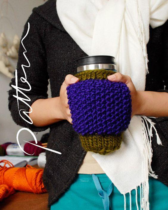 PATTERN - Mug Cozy - Digital Download - PDF - Knitting Pattern - Hand Warmer ...
