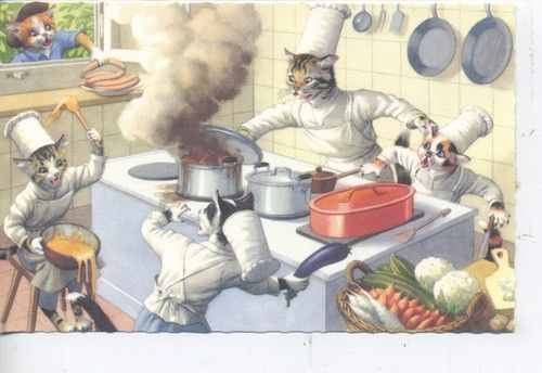 Cat Kitchen Chef Belgium - Eugen Hartung - Illustrator For Alfred Manzier Postcards