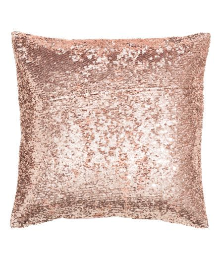 Check this out! Cushion cover in cotton fabric with a sequined front, solid-color back, and concealed zip. - Visit hm.com to see more.