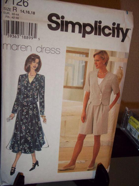 UNCUT Simplicity Pattern Misses Top Shorts Skirt 7126