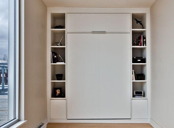 Lit escamotable double mur mur avec rangement lit armoire pinterest - Lit avec rangement 160 ...