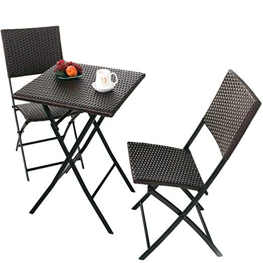 Rattan Patio Bistro Set Weather Resistant Outdoor Furniture Sets With Rust Proof Steel Frames 3 Pie Garden Table And Chairs Outdoor Furniture Sets Bistro Set