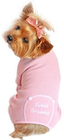 Sweet Dreams Long John Thermal Pajamas in color Pink - Daisey's Doggie Chic