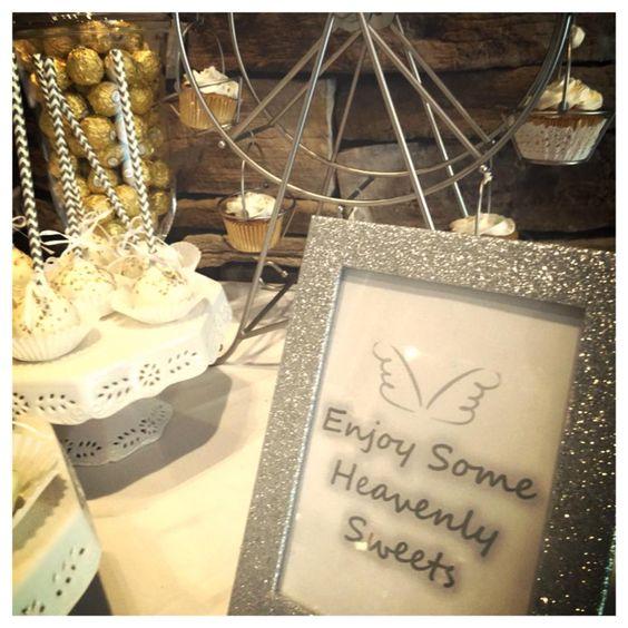 white silver gold angel theme baby shower dessert station https