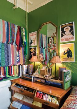 1st: loving the green, 2nd: can this be my closet instead of some mystery guy with a ton of ties?