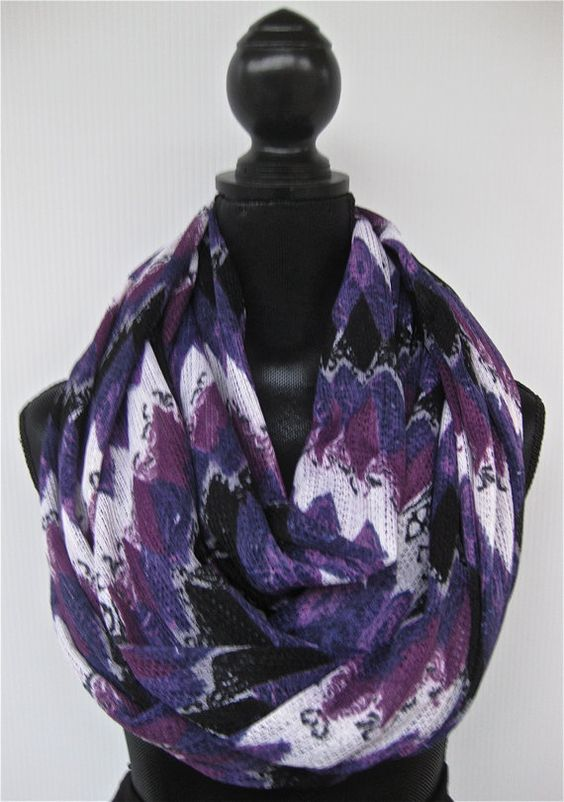Purple and Black Infinity Scarf by PersimmonStyle on Etsy