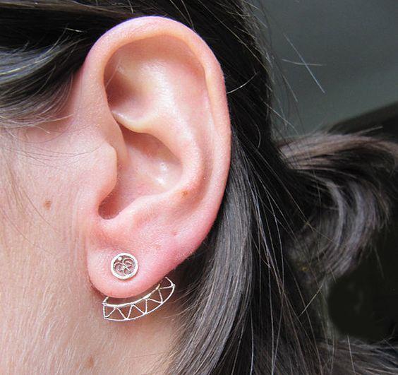 Silver Front Back Earrings, Silver Ear Jacket Earrings, Triangle Front Back Earrings
