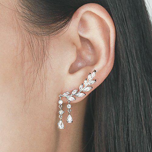 EVER SHINE Sweep Up Ear Cuffs Climbers Stud Set Drop Dangle Pierced Earrings Leaf Leaves