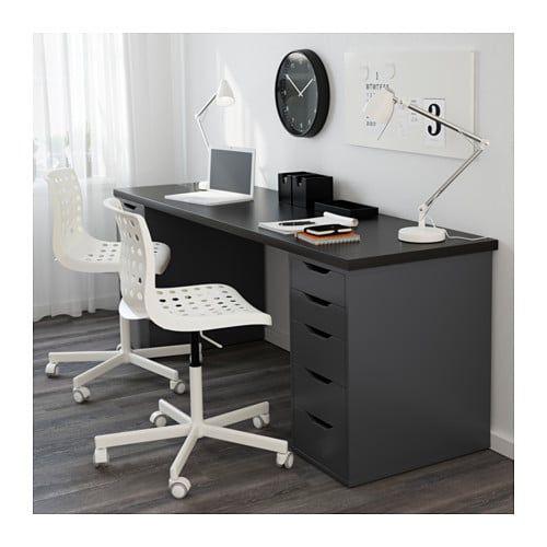 Linnmon Alex Table Black Brown Gray 78 3 4x23 5 8 Ikea Ikea Alex Drawers Linnmon Table Top Drawer Unit
