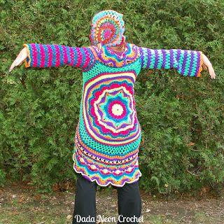 Dada Neon Crochet Rings of change jacket