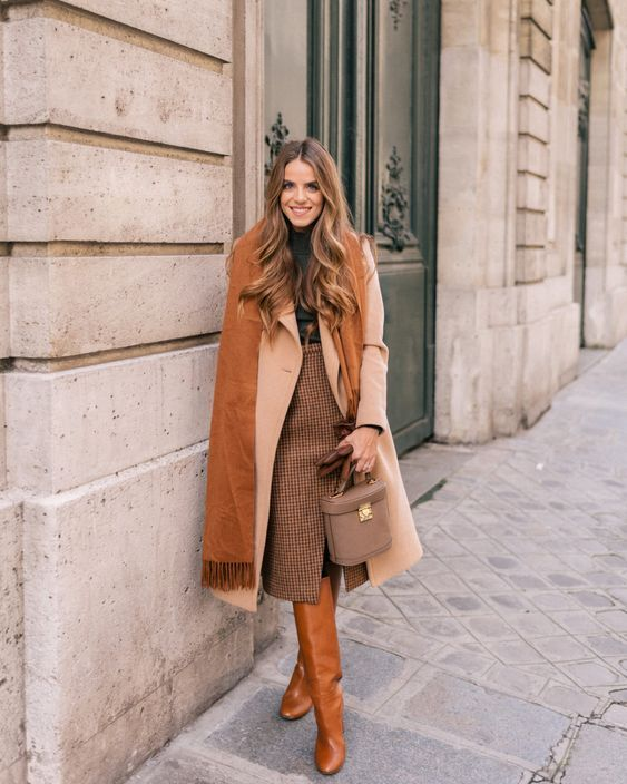 outfits casuales con faldas invierno