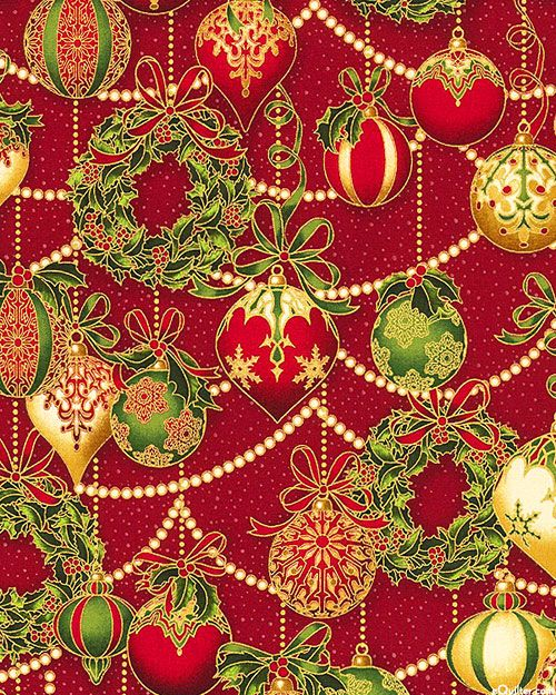 Holiday Flourish 8 - Ornament Garlands - Lacquer Red/Gold: