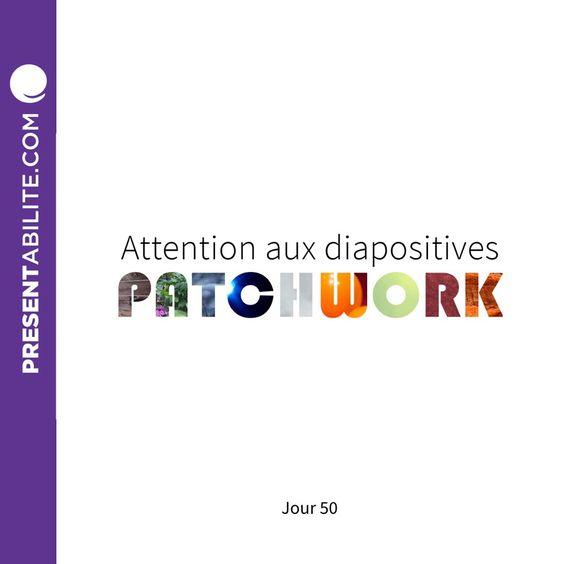 Ouiiiiiii ! J'ai 50 jours de fait dans le défi 100 Trucs de Présentation en 100 jours. Pour l'occasion, j'y vais d'un truc COLORÉ. Attention aux diapositives PATCHWORK. | Admettez-le. Vous en avez déjà utilisé. http://presentability.com/fr/attention-diapositives-patchwork/ #The100DayProject #100DaysOfPresTips