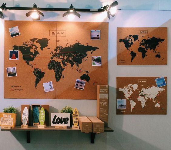 Decoration Carte Du Monde Liege Cork World Map World Map Decor