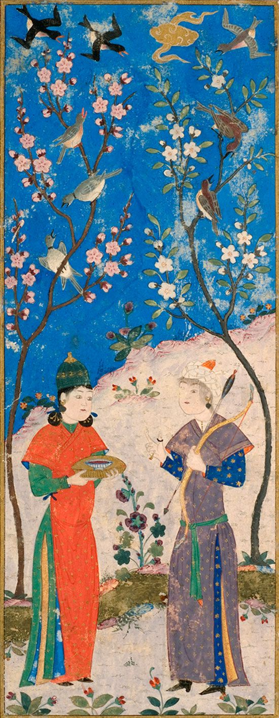 Couple Standing Among Flowering Trees, ca. 1480. Tabriz, Iran, Turkman School, Timurid Dynasty (1370–1507). Opaque watercolor and gold on paper. Gift of Mr. and Mrs. J. C. Nichols, 49-85.