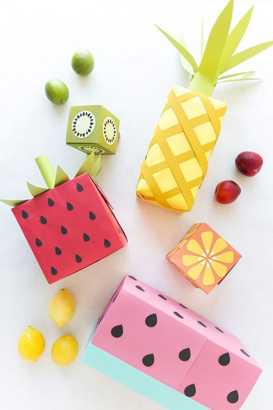 Make your wrapping paper look like various seasonal fruits — pineapple, watermelon, oranges, kiwi + more — with this paper craft DIY project.