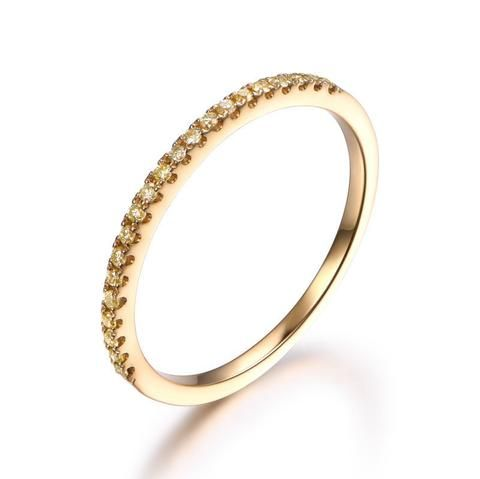 Pave Yellow Diamond Wedding Band Half Eternity Anniversary Ring 18K Yellow Gold - Lord of Gem Rings - 1