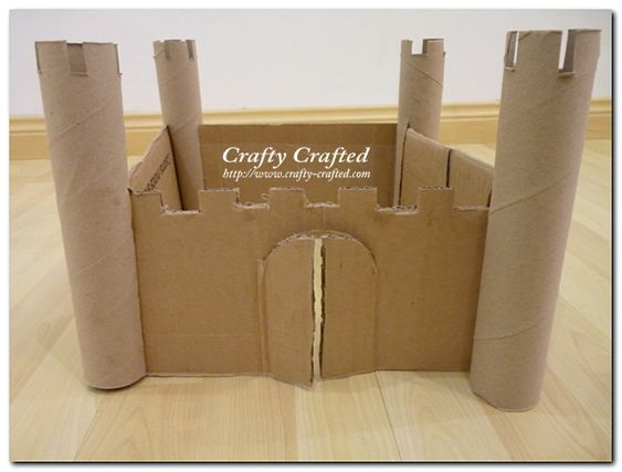 Castle made from a box and paper towels rolls