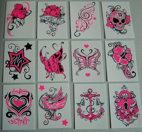 Electric Neon Pink Temporary Tattoos