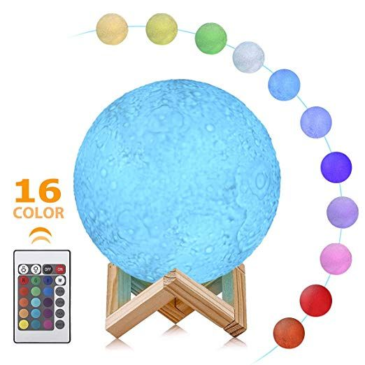 3d Moon Lamp Greenclick 16 Colors Rgb Moon Night Light For Kids Dimmable Lunar Moonlight Kids Lamp With Stand Re Decorative Night Lights Kids Lamps Night Light
