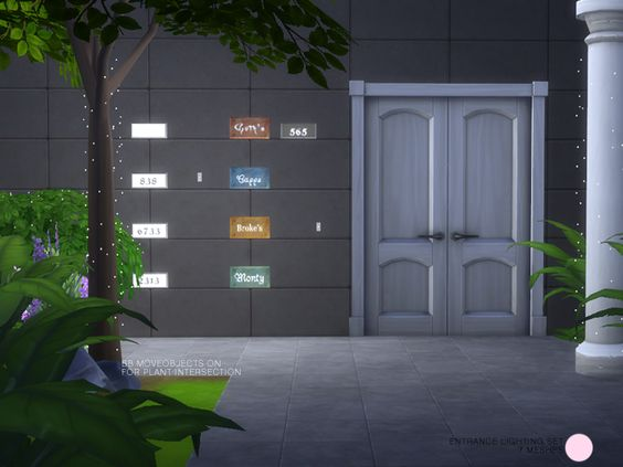 Entrance Lighting Set.  Modern and Contemporary Metal and Glass Plate Lighting for the wall, plus tiny fairy lighting for columns, trees and bushes. 7 Lamp meshes by DOT of The Sims Resource  Found...