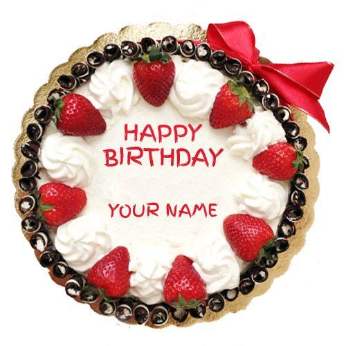 Peachy Write Name On Strawberry Birthday Cake Online Print Name On Personalised Birthday Cards Arneslily Jamesorg