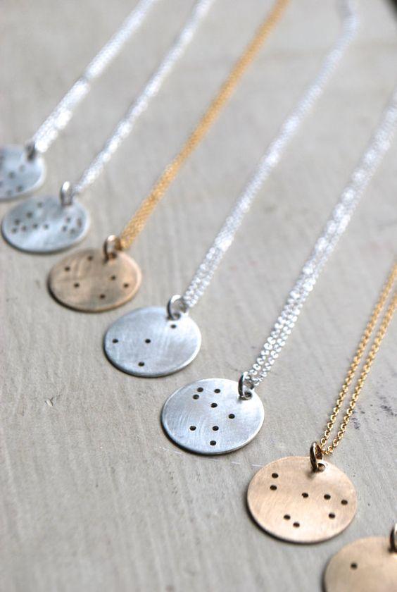 Tierkreis-Sternbild-Halskette | Sternbild Charme | Alle Konstellationen | Sterling Silber | Gold gefüllt | Rose Gold gefüllt