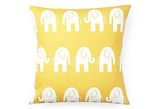 Elephant Pillow, Yellow/White