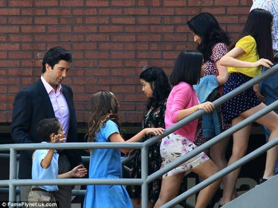 Ross can: Bringing up the rear is dad Robert Kardashian, played by David Schwimmer, with h...