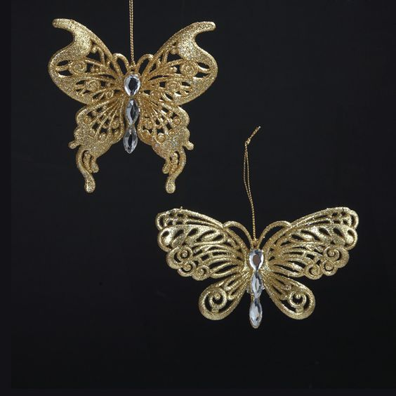 "3.5-4.5""GOLD GLITTER BUTTERFLY ORNAMENT Item # T1309"