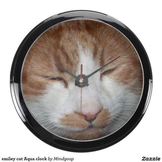 smiley cat Aqua clock