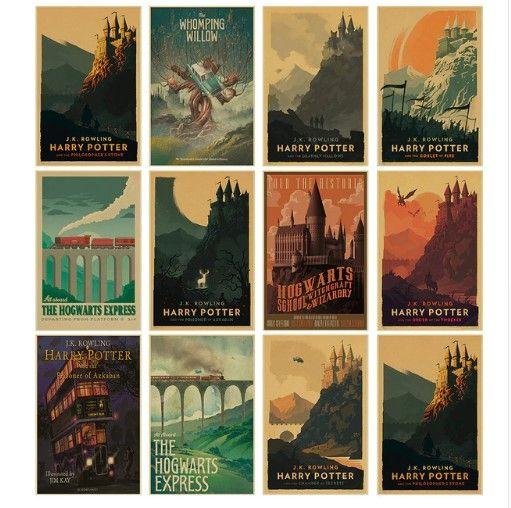 Neue Vintage Poster Harry Potter Hogwarts Express Diagonale Gasse Hogsmeade Usw Film Kraftpapi Harry Potter Poster Harry Potter Bildschirmhintergrund Hogwarts