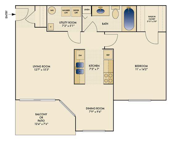 One Bedroom  722 sq. ft.