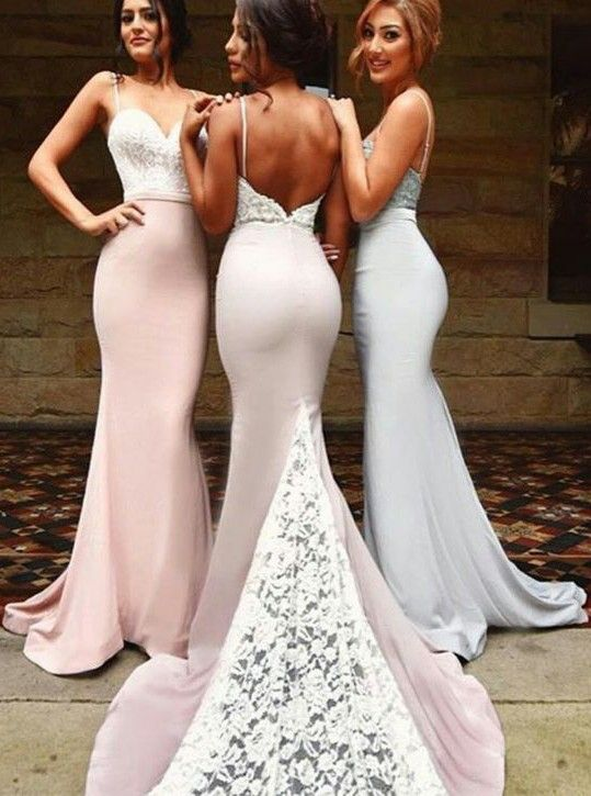Y Mermaid Bridesmaid Dresses Lace Unique Long Custom Dress 17059 Sold B