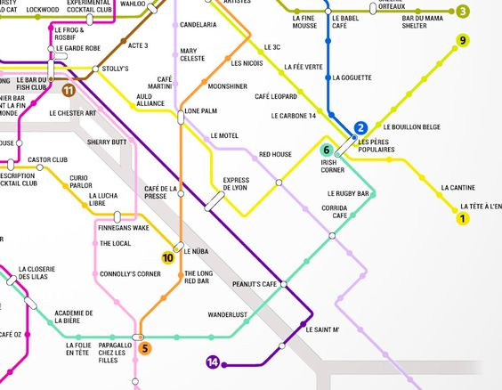 metro map to locate the best bars in Paris