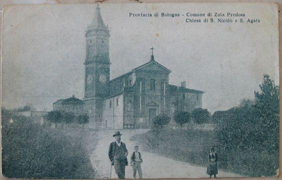 1917 Provincia di Bologna - Comune di Zola Predosa Chiesa di S. Nicolò e S .Agata  Off. Art. Graf. A. Casini e C -Bologna cartolina senza francobollo