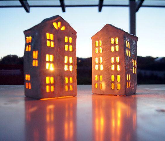 Garten Dekoration-Kerze Laterne-Keramik Haus-Keramik und Töpferei
