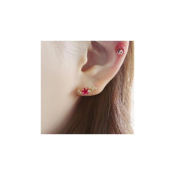 Rhinestone Star Piercing (£15) ❤ liked on Polyvore featuring jewelry, accessories, earrings, pink rhinestone jewelry, star jewelry, pink jewelry and rhinestone jewelry