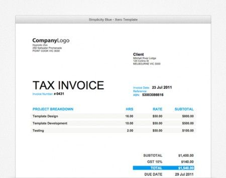 If you like a fresh look then the Project-forest Xero Invoice - sample purchase invoice templates