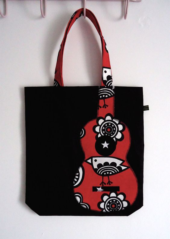 Black and red ukulele appliqué tote bag with bird print: