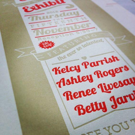 #Letterpress design, by Kelcy Parrish