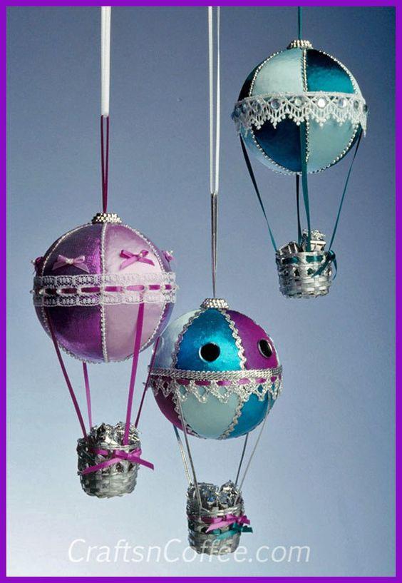 Handmade Christmas Ornaments for gift giving -- DIY Hot Air Balloon Christmas Ornaments on CraftsnCoffee.com.