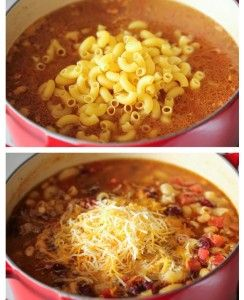 One Pot Chili Mac and Cheese. I added some yellow and red peppers, some sriracha and chilula and a can of tomato sauce. Pretty good stuff!