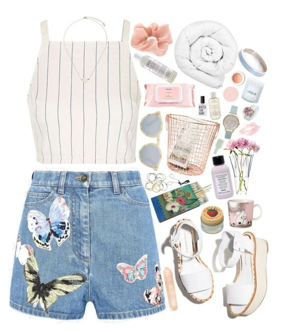"""""""fern"""" by gemmonkey ❤ liked on Polyvore featuring Paloma Barceló, Valentino, Topshop, Burt's Bees, Illesteva, Korres, Davines, Accessorize, Monki and Arabia"""