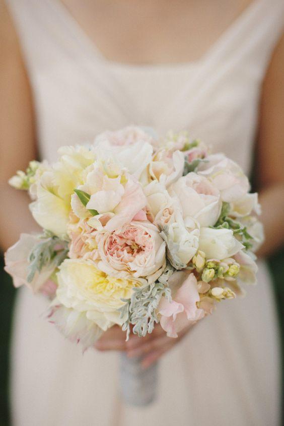 spring wedding colour scheme - yellow and gray bridal bouquet