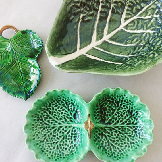 Green cabbage ware - leafy greens | stangl cabbage, occupied Japan leaf & Portuguese cabbage bowl