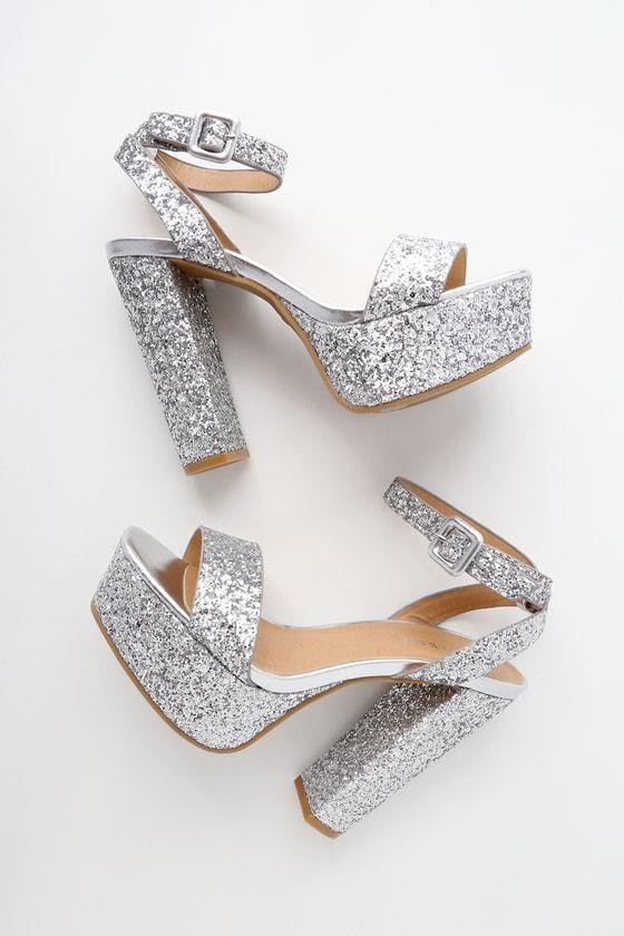 Silver glitter heels, Ankle strap heels